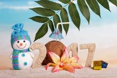 El coco en lugar de otro numera 0 en la cantidad 2017, muñeco de nieve contra el mar Imagen de archivo