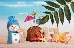 El coco en lugar de otro numera 0 en 2017, muñeco de nieve contra el mar Foto de archivo libre de regalías