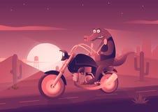 El cocodrilo en la bici Ejemplo del arte ilustración del vector