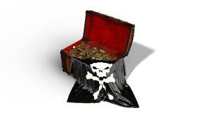 El cofre del tesoro del pirata con las monedas de oro y la bandera del cráneo del pirata aislada en el fondo blanco, 3D rinde libre illustration