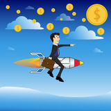 El cohete con el hombre de negocios Imágenes de archivo libres de regalías