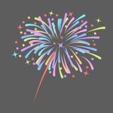El cohete de los fuegos artificiales estalla en estrellas coloreadas Elemento del diseño aislado en fondo oscuro ejemplo abstract libre illustration