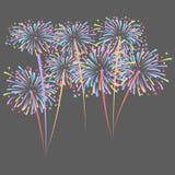 El cohete de los fuegos artificiales estalla en estrellas coloreadas Elemento del diseño aislado en fondo oscuro ejemplo abstract stock de ilustración