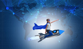 El cohete del vuelo de la niña en concepto del super héroe Fotos de archivo libres de regalías