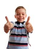 El colegial de la felicidad muestra OK Imagen de archivo libre de regalías