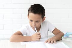 El colegial del muchacho enseña a lecciones que escribe en cuaderno y libros de lectura foto de archivo