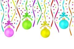 El colgante opaco multicolor de las bolas de la Navidad Imagen de archivo