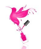 El colibrí estilizado hecho con salpica de esmalte de uñas fotos de archivo
