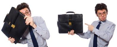 El collage con el hombre de negocios joven en blanco imagen de archivo libre de regalías