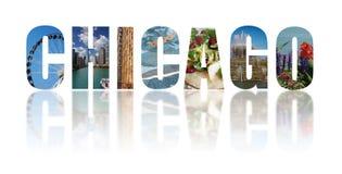 El collage de Chicago reflejó en blanco fotos de archivo libres de regalías