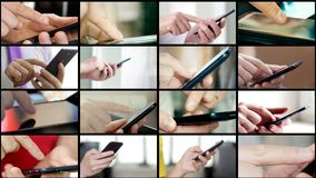 El collage de diversa gente da SMS que manda un SMS en smartphones almacen de video