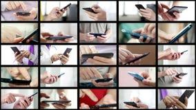 El collage de diversa gente da SMS que manda un SMS en smartphones metrajes