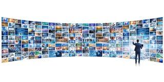 El collage de fotos con el hombre de negocios fotografía de archivo libre de regalías