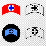 El collage de Gradiented punteó el casquillo y el sello médicos de Grunged ilustración del vector