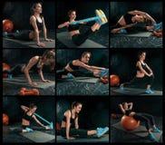 El collage de imágenes de la morenita delgada hermosa que hace una cierta gimnasia en el gimnasio Imágenes de archivo libres de regalías