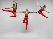 El collage de imágenes del bailarín de ballet moderno joven y elegante foto de archivo