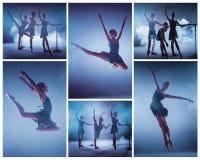 El collage de imágenes de las bailarinas jovenes que estiran en la barra Fotografía de archivo