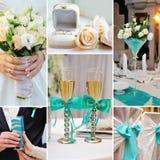 El collage de la boda representa decoraciones en la turquesa, color azul Imágenes de archivo libres de regalías