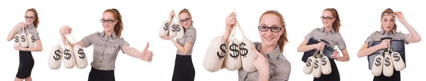 El collage de la empresaria joven con los sacos del dinero en blanco Fotos de archivo libres de regalías