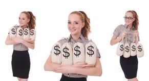 El collage de la empresaria joven con los sacos del dinero en blanco Foto de archivo libre de regalías