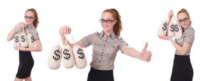 El collage de la empresaria joven con los sacos del dinero en blanco Fotos de archivo