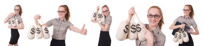 El collage de la empresaria joven con los sacos del dinero en blanco Imagenes de archivo