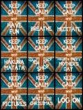 El collage de la foto de diverso guarda mensajes tranquilos Imagenes de archivo