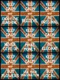 El collage de la foto de diverso guarda mensajes tranquilos Fotografía de archivo libre de regalías