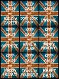 El collage de la foto de diverso guarda mensajes tranquilos Imágenes de archivo libres de regalías