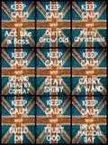 El collage de la foto de diverso guarda mensajes tranquilos Imagen de archivo