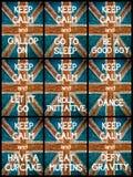 El collage de la foto de diverso guarda mensajes tranquilos Foto de archivo