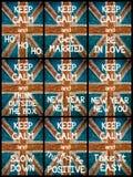 El collage de la foto de diverso guarda mensajes tranquilos Imagen de archivo libre de regalías