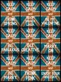 El collage de la foto de diverso guarda mensajes tranquilos Fotos de archivo libres de regalías
