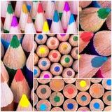 El collage de la foto del cierre encima del tiro macro sobre el colorante dibujó a lápiz Fotografía de archivo libre de regalías