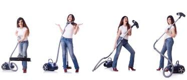 El collage de la limpieza de la mujer con el aspirador foto de archivo libre de regalías