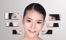 El collage de la mujer asiática compone el estilo de pelo, cirugía plástica, Imágenes de archivo libres de regalías