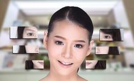 El collage de la mujer asiática compone el estilo de pelo, cirugía plástica, Imagen de archivo