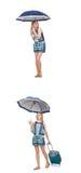 El collage de la mujer con el paraguas y la maleta Fotos de archivo