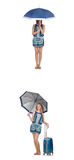 El collage de la mujer con el paraguas y la maleta Foto de archivo libre de regalías