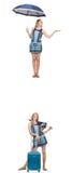 El collage de la mujer con el paraguas y la maleta Imagen de archivo libre de regalías