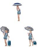 El collage de la mujer con el paraguas y la maleta Fotos de archivo libres de regalías