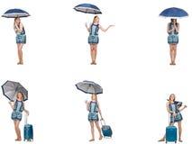 El collage de la mujer con el paraguas y la maleta Imagen de archivo