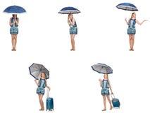 El collage de la mujer con el paraguas y la maleta Fotografía de archivo