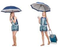 El collage de la mujer con el paraguas y la maleta Fotografía de archivo libre de regalías