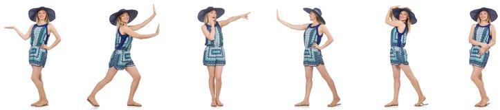 El collage de la mujer con el sombrero de Panamá aislado en blanco Foto de archivo