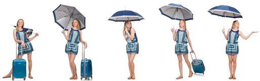 El collage de la mujer con el paraguas y la maleta Foto de archivo