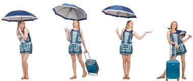 El collage de la mujer con el paraguas y la maleta Imágenes de archivo libres de regalías
