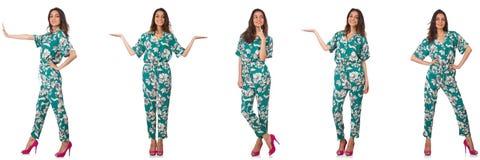 El collage de la mujer en mirada de la moda aislada en blanco imagen de archivo libre de regalías
