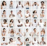 El collage de las caras de la gente sorprendida en los fondos blancos foto de archivo libre de regalías