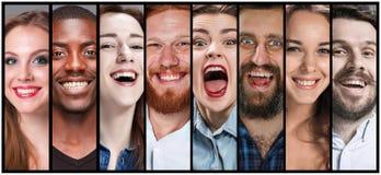 El collage de las expresiones sonrientes de la cara del hombre joven y de la mujer fotos de archivo libres de regalías